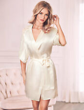 NEW ROSIE AUTOGRAPH M & S STUNNING IVORY SILK WITH LACE ROBE, DRESSING GOWN £135