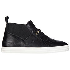 HOGAN REBEL SLIP ON DONNA IN PELLE SNEAKERS NUOVE ORIGINALI R182 MID CUT NER 07C
