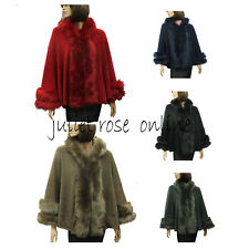 Ladies Womens Celebrity Style Thick Faux Fur Trim Hooded Shawl Poncho Cape