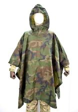 Waterproof Hooded Poncho US Army Ripstop Rain Cape Camo Military Camping Hiking