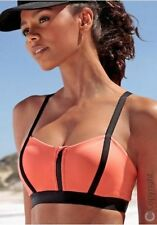 Bench Sports Bra Zip Colour Blocking Lightweight Load Capacity Neon Coral