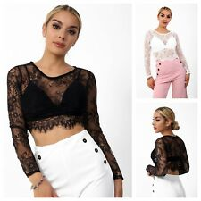WOMENS LADIES LONG SLEEVE FLORAL LACE CROP TOP WITH BRA BRALET FASHION BLOUSE