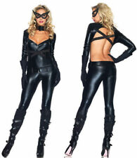 Sexy Cat Woman Costume Tuta nera vinile Halloween mascherina gatta Leg Avenue