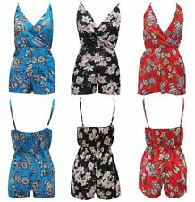 Womens Floral Wrap Over Jumpsuit Ladies Evening Party Romper Strappy Playsuit