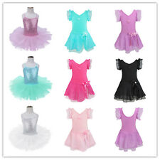 Kids Girls Sequined Ballet Dance Dress Gymnastics Leotard Tutu Skirt Costume