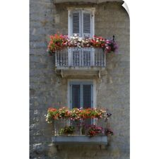 Wall Decal entitled France, Corsica, Flower Boxes On Window Balconies, House In