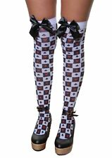 Womens Queen of Hearts Stockings With Black Bow Ladies Fancy Party Accessory