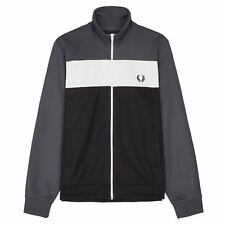 FRED PERRY MENS CHARCOAL BLOCK COLOUR TRACK TOP