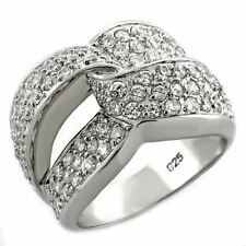 1006 WOMENS PAVE SIMULATED DIAMOND STERLING SILVER RING CLUSTER COMFORT RRP $192