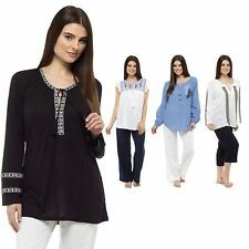 Ladies Long Short Sleeve Embroidered Casual Peasant Gypsy Tunic Top Size 10-18