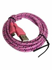 Braided USB Micro Pink Cable Sync Charger Data Lead For Android Smart Phones UK
