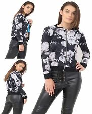 Womens Butterfly Floral Zip Up Bomber Jacket Ladies Long Sleeve Party Wear Top