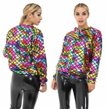 Womens Mermaid Rainbow Fish Bomber Jacket Ladies Metallic Summer Party Coat