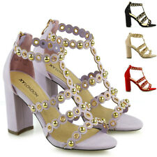 New Womens Block Heel Sandals Ladies Studded Straps Zip Party Prom Shoes Size