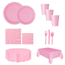 Baby Pink Girls Birthday party plates napkins cutlery tableware Cups decorations