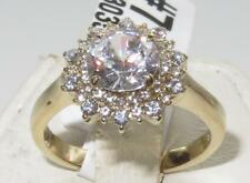 K3035 SIMULATED DIAMOND ring womens engagement cluster 18kt gold stainless steel