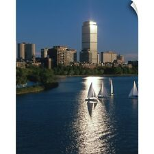 Wall Decal entitled Boston skyline with sailboats in the harbor, Massachusetts