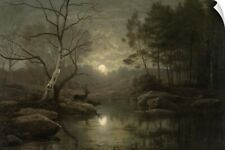 Wall Decal entitled Forest Landscape in the Moonlight, 1861, Dutch oil painting