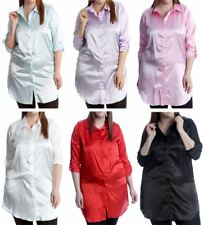Womens Plain Satin Shiny Button Collared Shirt Ladies Long Sleeve Plus Size Top