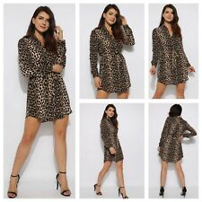 WOMENS LADIES COLLARED BELTED BUTTON LONG SLEEVE LEOPARD SHIRT DRESS TUNIC TOP