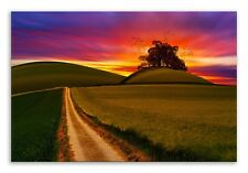Road Canvas Field Sunset  Tree Landscape Wall Art Picture Home Decor