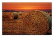 Hay Bale Canvas Straw Field Sunset Landscape Wall Art Picture Home Decor