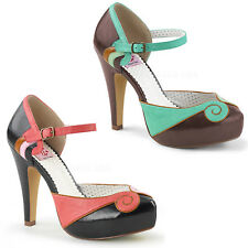 Bettie-17 chice Pin Up Couture High Heels Orsay Riemchenpumps Coral Teal Gr35-42