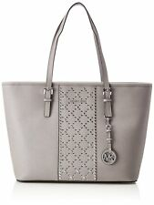 Michael Kors Tote Bag Jet Set Travel Grommeted Saffiano Leather Tote Pearl Grey