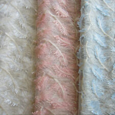 1 Yard Feather Pattern Embroidered Mesh Lace Fabric Bridal Dress 130cm Width