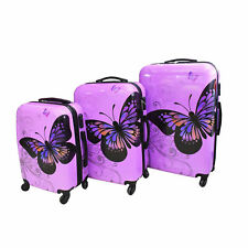 Purple Butterfly Hard Shell 4 Wheel Spinner Suitcase Luggage Trolley Case Bag