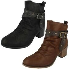 Mujer Down To Earth con Cremallera Botines Tacón The Style F5R0949 ~ N