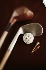 Wall Decal entitled Still life of vintage golf clubs, tees and ball