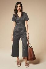 BNWT New NEXT Dark Grey Satin Wrap Top Cropped Trouser Jumpsuit size 10 RRP £60