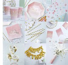 Luxury Gold Pink Foiled Ombre TABLEWARE Party Happy Birthday Quality Decorations