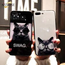 Verre Trempé Chat Animal COQUE COQUE Mobile HOUSSES pour Iphone X 6 6S 7 8 Plus