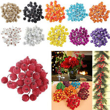 40X Mini Christmas Frosted Fruit Berry Holly Artificial Flower Art Decor DIY^