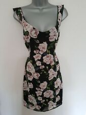 NWT New LIPSY Black Pink Floral Cut Out Tie Back Chiffon Layered Pencil Dress 10