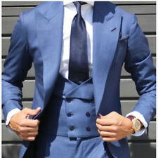 Light Blue Double Breasted Vest Men Suit Tuxedo Slim Fit Groom Wide Lapel Custom