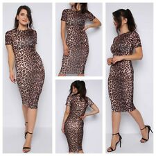 WOMENS LADIES ROUND NECK STRETCH SHORT SLEEVE LEOPARD PRINT BODYCON MIDI DRESS