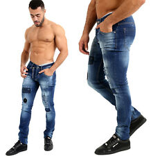 Mens Designer Painted Spot Stretch Slim Fit Patch Denim Jeans Fashion Trouser