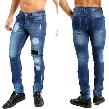 Mens Designer Tye Dye Painted Spot Ripped Slim Fit Patch Denim Jeans Fashion
