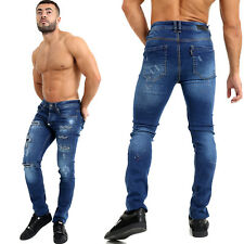 Mens Designer Painted Spot Distressed Ripped Slim Fit Stretchy Denim Jeans