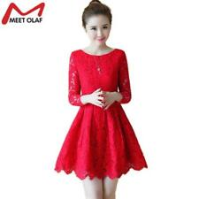 Women Lace Dress Girls Evening Party Wedding A-line Female Above Knee Dresses Ko
