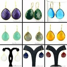 Choose Your Natural Faceted Gemstone 21x26 mm Dangle Earring Jewelry Gold Plated