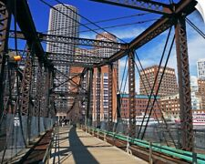 Wall Decal entitled Iron footbridge with Boston Financial district in background