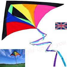 Huge Rainbow Multicolour Colourful String Kite Adults Kids Fun Outdoor Game