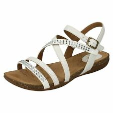 Clarks Ladies Flat Sandals AUTUMN PEACE White Leather UK 5.5 Wide Fit
