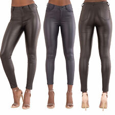 Womens High Waist Leather Look Ladies Skinny Stretchy Trousers Size 6-14