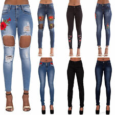 WOMEN'S EMBROIDERY ROSE SKINNY JEANS Ripped Flower Faded Black Denim SIZE 6-14