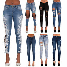 Womens Ripped Knee Skinny Jeans Faded Slim Fit Ladies Denim Size 6-14